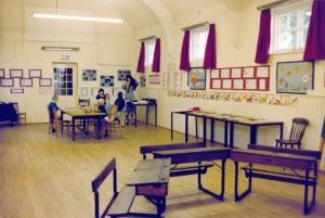 Old desks in hall